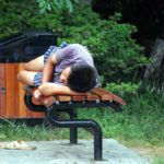 nap on park bench
